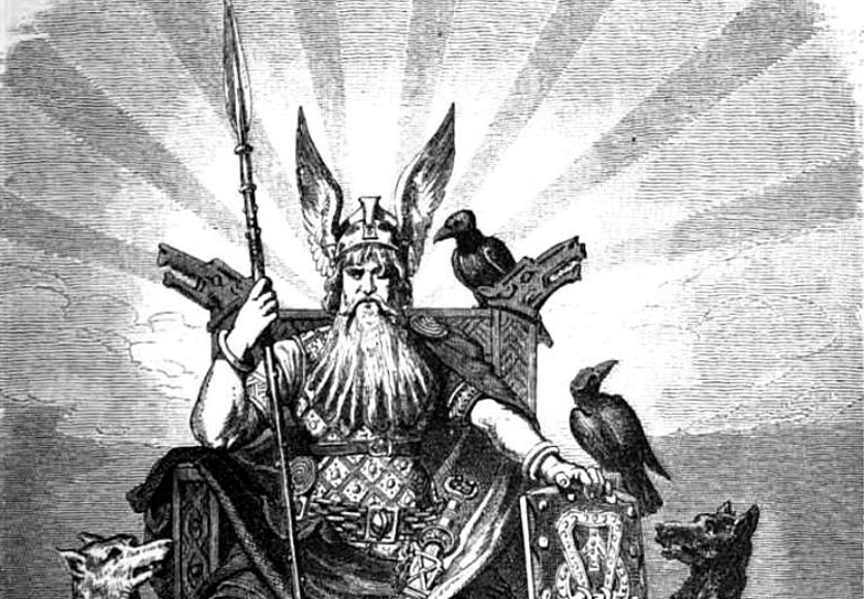 Odin, sentando em seu trono com sua lança e seus corvos