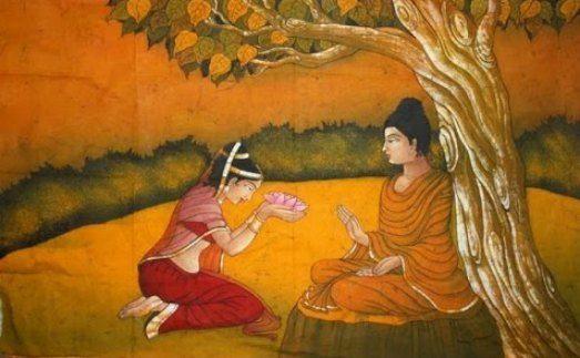 Amrapali em posição de reverencia a Buda