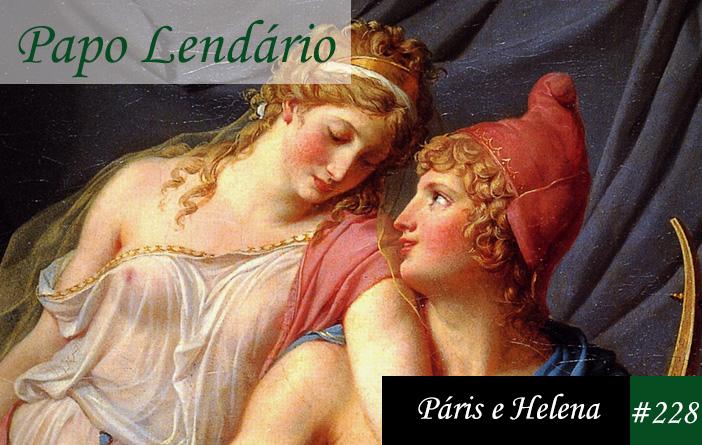 Vitrine do Papo Lendário 228, onde mostra parte de uma pintura com Páris e Helena, ele sentado olhando para ela por sobre os ombros, e Helena apoiada sobre o ombro dele.